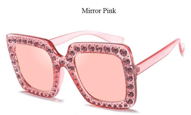 Brand Designer Sunglass Mirror Diamond Sun Glasses Female Clear Square Hot-Sunglasses-CandisGy Trend eyewear Store-YF296 Mirror Pink-Bargain Bait Box
