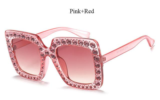 Brand Designer Sunglass Mirror Diamond Sun Glasses Female Clear Square Hot-Sunglasses-CandisGy Trend eyewear Store-YF296 Pink Red-Bargain Bait Box