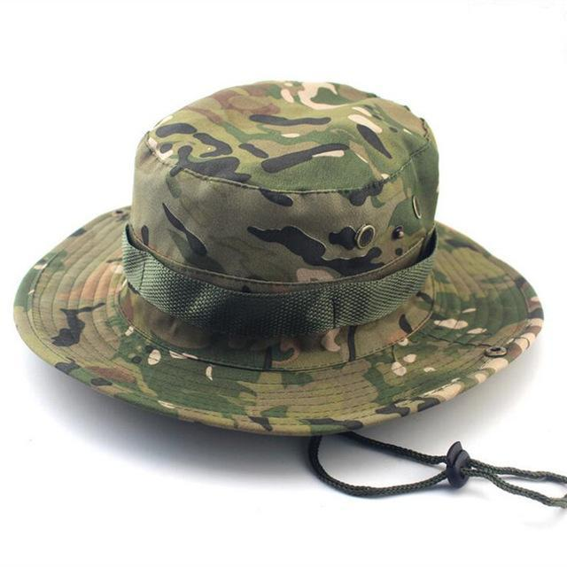 5a1891737eb Bucket Hats Military Camo Hat For Men Jungle Fishermen Hats With Wide Brim  Sun-Hats