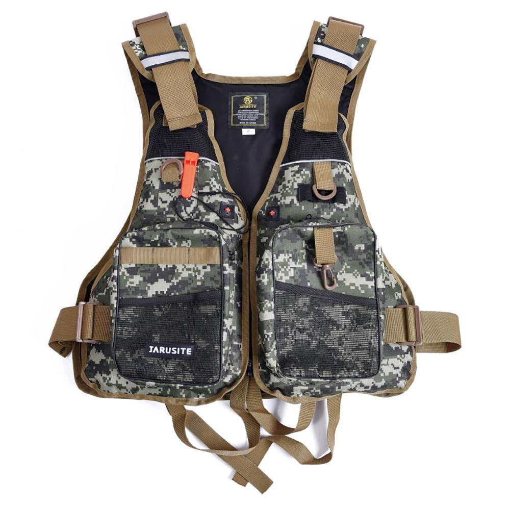 Buoyancy Windproof Fly Fishing Vest Life Vest With Emergency Whistle-Fishing Vests-Bargain Bait Box-Black-One Size-Bargain Bait Box