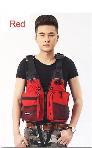 Buoyancy Windproof Fly Fishing Vest Life Vest With Emergency Whistle-Fishing Vests-Bargain Bait Box-Red-One Size-Bargain Bait Box