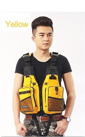 Buoyancy Windproof Fly Fishing Vest Life Vest With Emergency Whistle-Fishing Vests-Bargain Bait Box-Yellow-One Size-Bargain Bait Box