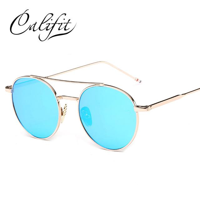 Califit Ladies Pink Mirror Round Sunglasses Women Luxury Brand Designer Lunette-Sunglasses-CITY-VISION-002-Bargain Bait Box