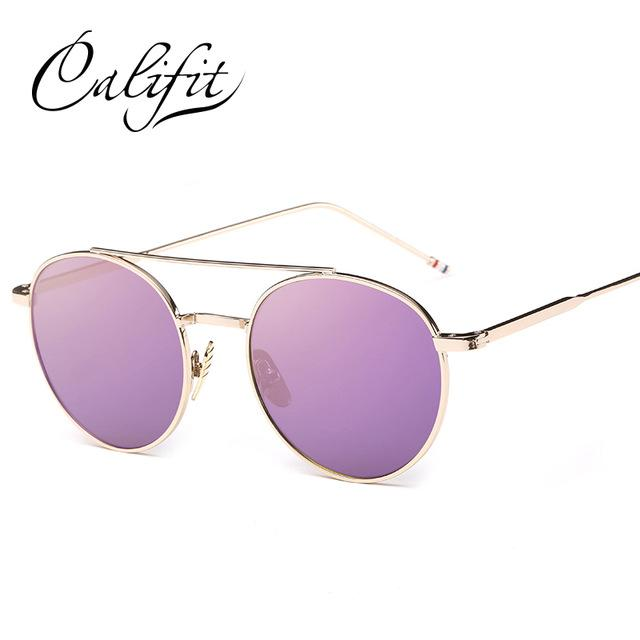Califit Ladies Pink Mirror Round Sunglasses Women Luxury Brand Designer Lunette-Sunglasses-CITY-VISION-004-Bargain Bait Box