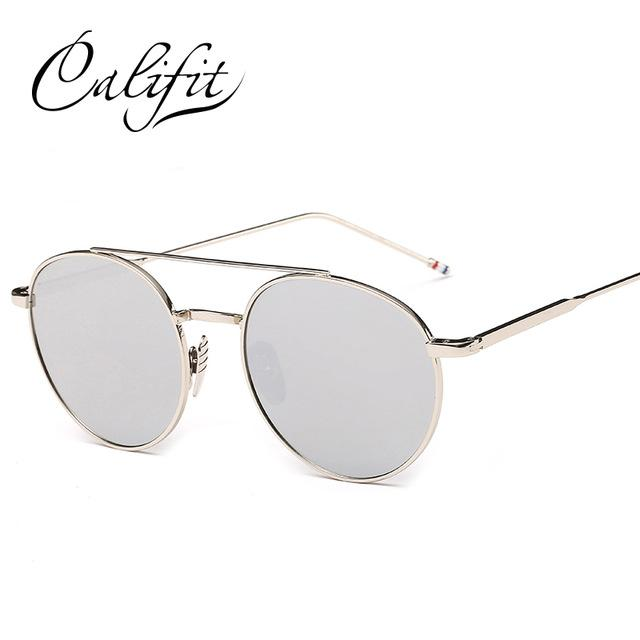 Califit Ladies Pink Mirror Round Sunglasses Women Luxury Brand Designer Lunette-Sunglasses-CITY-VISION-005-Bargain Bait Box