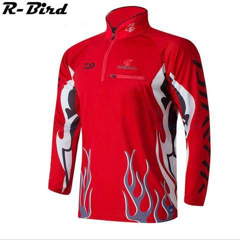Camisa Uv Upf>50 Breathale Sunscreen Quick-Drying Anti-Uv Long Sleeve Shirts-Fishing Shirts-Bargain Bait Box-Red-M-Bargain Bait Box