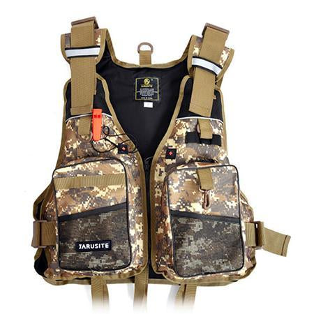 Camo Buoyancy Men Fly Fishing Vest Whistle Life Jacket Detachable Fishing-Fishing Vests-Bargain Bait Box-Yellow-One Size-Bargain Bait Box