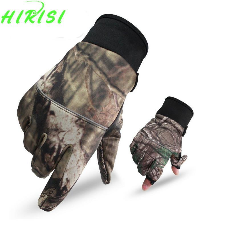 Camo Fishing Gloves Hunting Gloves Anti-Slip 2 Fingers Cut Camping Half Finger-Gloves-Bargain Bait Box-M-Bargain Bait Box
