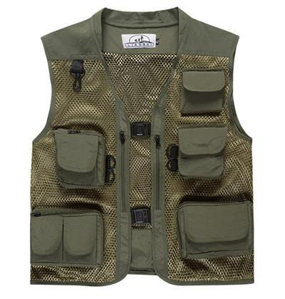Camo Fly Fishing Vest Life Jacket Quick Dry Mesh Fishing Vest M L Xl Xxl Xxxl-Fishing Vests-Bargain Bait Box-Green-L-Bargain Bait Box