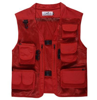 Camo Fly Fishing Vest Life Jacket Quick Dry Mesh Fishing Vest M L Xl Xxl Xxxl-Fishing Vests-Bargain Bait Box-Red-L-Bargain Bait Box
