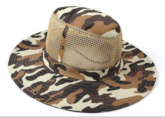 Camo Hats For Men Bucket Hat Bobsunscreen Casual Sunhat Women Wide Brim-Hats-Bargain Bait Box-Khaki-Bargain Bait Box