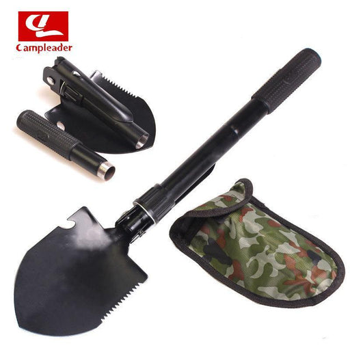 Campleader Multi-Function Military Portable Folding Shovel Survival Spade Trowel-Campleader Official Store-Black-Bargain Bait Box
