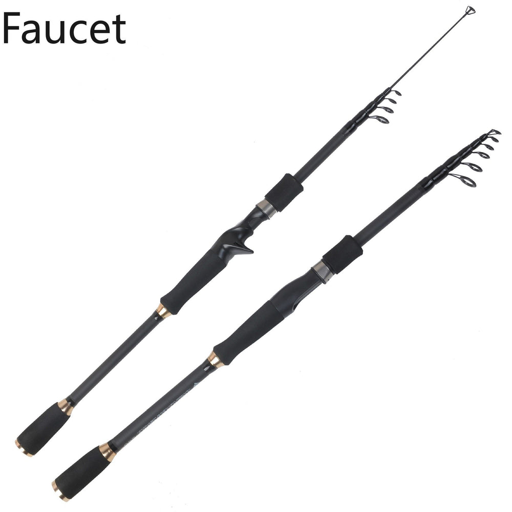 Carbon Spinning Casting Rod M, Mh Power Ultralight Telescopic Fishing Rod-Telescopic Rods-Tyl Store-Black-1.8 m-Bargain Bait Box