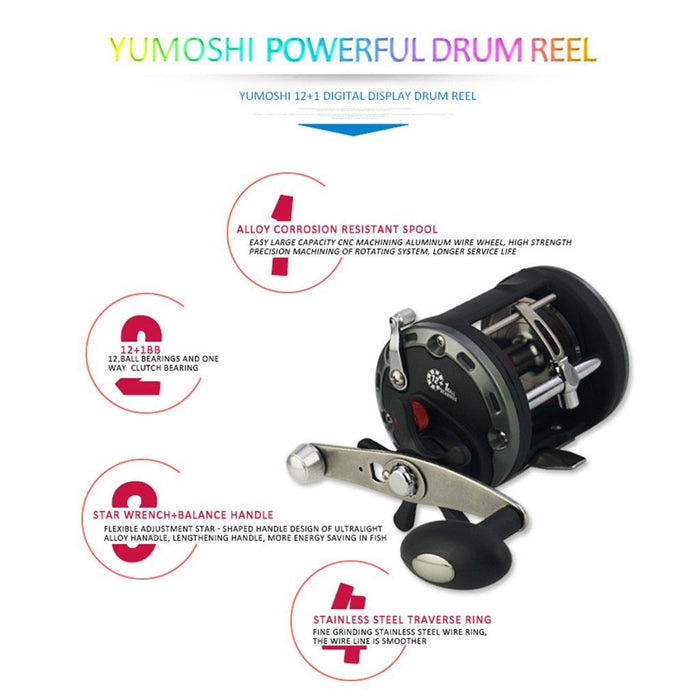 Casting Sea Fishing Reel Saltwater Bait Casting Reel Coil 12+1Bb Bearings Cast-Baitcasting Reels-DeepBreath Store-Black-13-2000 Series-Bargain Bait Box