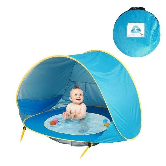 Children Tent Baby Beach Tent Uv Protecting Sunshelter With Pool Kids Summer-Tents-Alpscamping Store-Blue-Bargain Bait Box