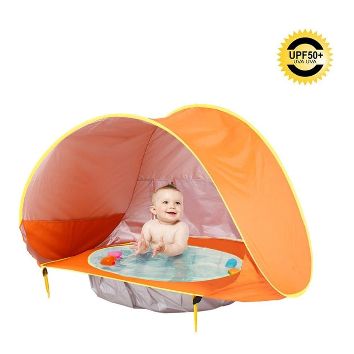 Children Tent Baby Beach Tent Uv Protecting Sunshelter With Pool Kids Summer-Tents-Alpscamping Store-Orange-Bargain Bait Box