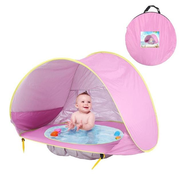 Children Tent Baby Beach Tent Uv Protecting Sunshelter With Pool Kids Summer-Tents-Alpscamping Store-Pink-Bargain Bait Box