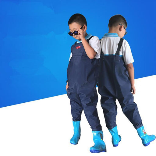Children'S Fishing Seaside Play Water Suspender Trousers Underwater Pants Kids-Waders Youth-Bargain Bait Box-blue-26 size-Bargain Bait Box