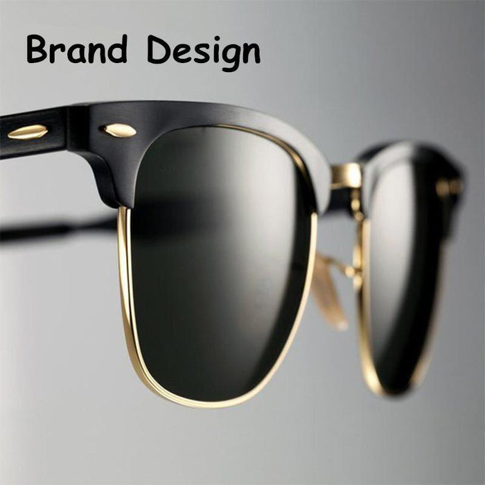 Classic Men Half Frame Polarized Sunglasses Women Brand Designer Vintage-Sunglasses-God is a girl-Black Polarized-Bargain Bait Box