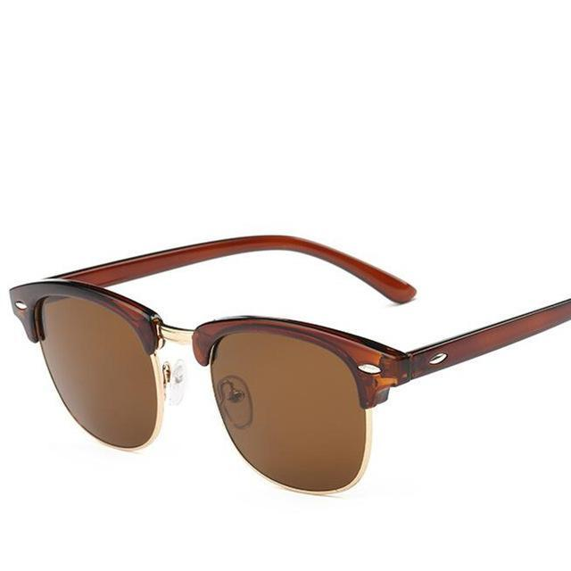 Classic Men Half Frame Polarized Sunglasses Women Brand Designer Vintage-Sunglasses-God is a girl-Brown-Bargain Bait Box