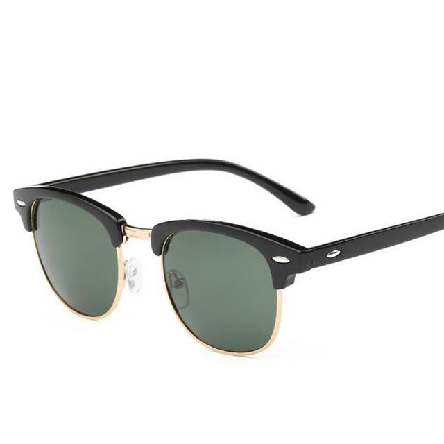 Classic Men Half Frame Polarized Sunglasses Women Brand Designer Vintage-Sunglasses-God is a girl-Gold F Green-Bargain Bait Box