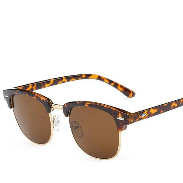 Classic Men Half Frame Polarized Sunglasses Women Brand Designer Vintage-Sunglasses-God is a girl-Leopard F Brown-Bargain Bait Box