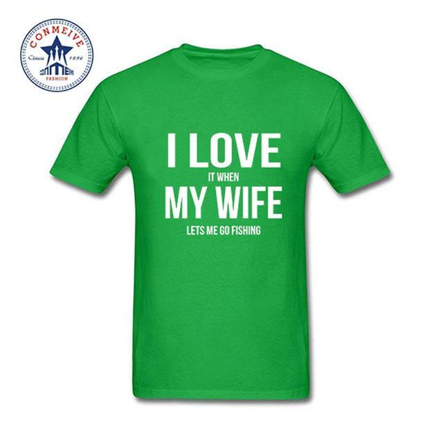 Clothes Casual I Love My Wife Fishinger Cotton Funny T Shirt For Men Short-Shirts-Bargain Bait Box-green-XS-Bargain Bait Box