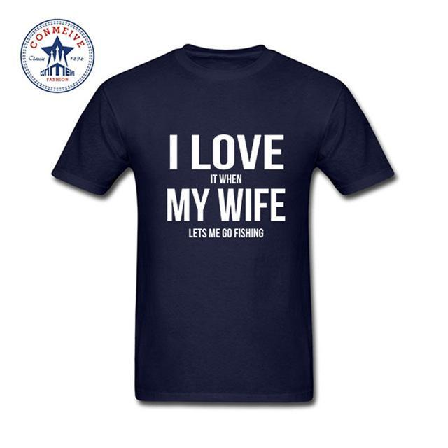Clothes Casual I Love My Wife Fishinger Cotton Funny T Shirt For Men Short-Shirts-Bargain Bait Box-navy-S-Bargain Bait Box