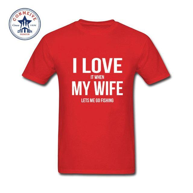 Clothes Casual I Love My Wife Fishinger Cotton Funny T Shirt For Men Short-Shirts-Bargain Bait Box-red-XS-Bargain Bait Box