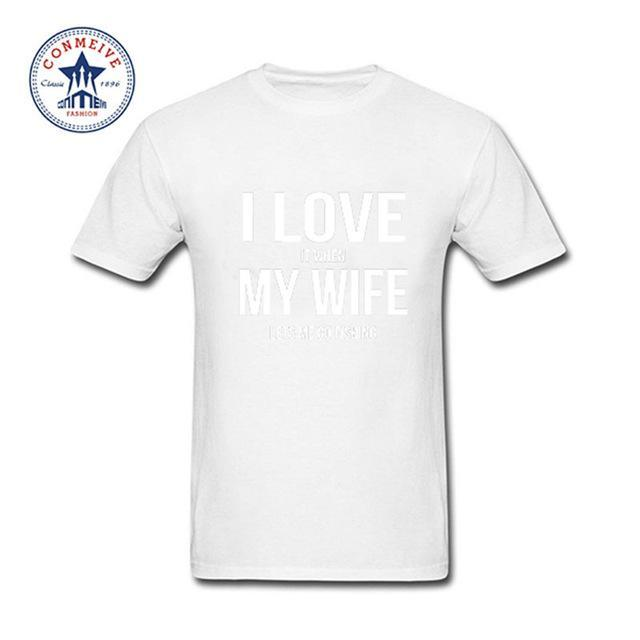 Clothes Casual I Love My Wife Fishinger Cotton Funny T Shirt For Men Short-Shirts-Bargain Bait Box-white-XS-Bargain Bait Box