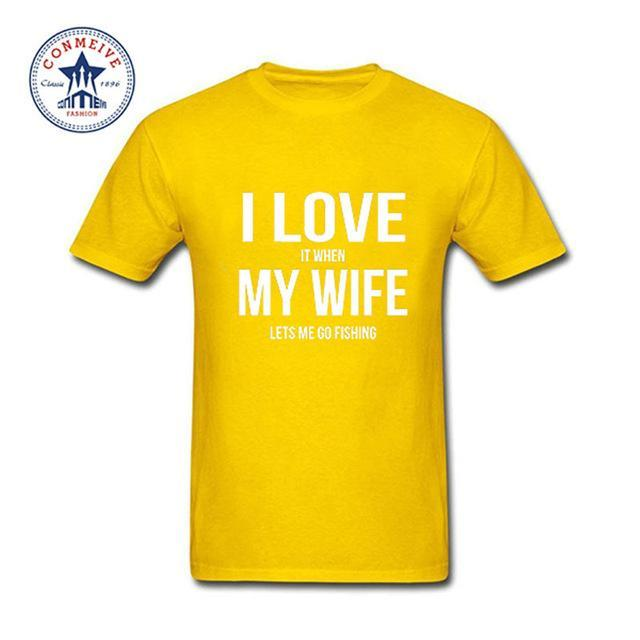 Clothes Casual I Love My Wife Fishinger Cotton Funny T Shirt For Men Short-Shirts-Bargain Bait Box-yellow-XS-Bargain Bait Box
