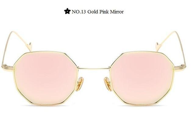 Color Lens Tinted Square Sunglasses Women Small Frame Red Blue Polygon-Sunglasses-lilychen Store-Gold Pink Mirror-Bargain Bait Box