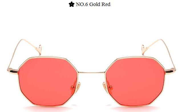 Color Lens Tinted Square Sunglasses Women Small Frame Red Blue Polygon-Sunglasses-lilychen Store-Gold Red-Bargain Bait Box