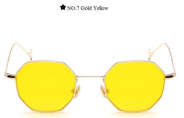 Color Lens Tinted Square Sunglasses Women Small Frame Red Blue Polygon-Sunglasses-lilychen Store-Gold Yellow-Bargain Bait Box