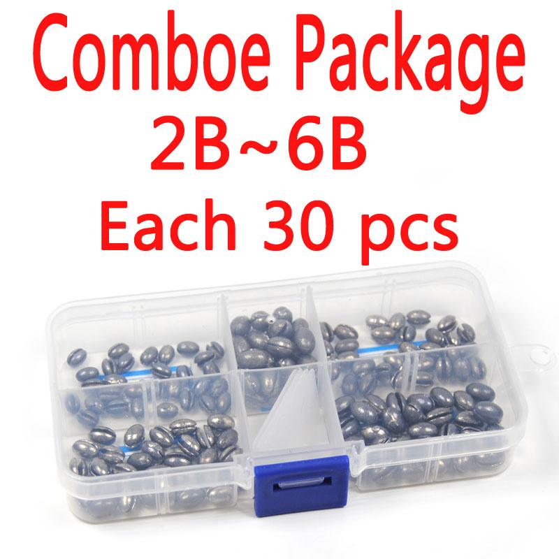 Comboe Package 2B~6B Each 30 Pcs Total 150 Pcs] Solid Oval Split S Lead Sinker-Split Shots-Bargain Bait Box-Bargain Bait Box
