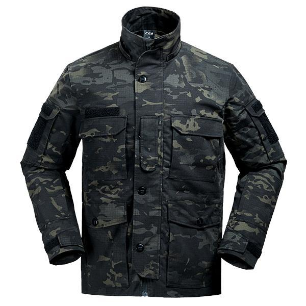 Cqb Tactical Camo Jacket Water Repellent Windproof Camping Fishing Windbreaker-Jackets-Bargain Bait Box-Black camouflage-L-China-Bargain Bait Box