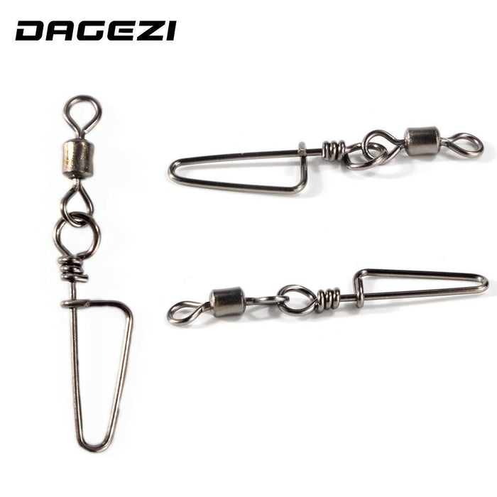 Dagezi 100Pcs/Lot Fishing Connector Rolling Fishing Swivel With Nice Snap-DAGEZI Store-14-Bargain Bait Box