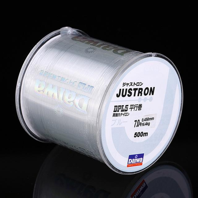 Daiwa 500M Super Strong Daiwa Justron Nylon Fishing Line 2Lb - 40Lb 7 Colors-ACEXPNM Angler & Cyclist's Store-Clear-0.4-Bargain Bait Box