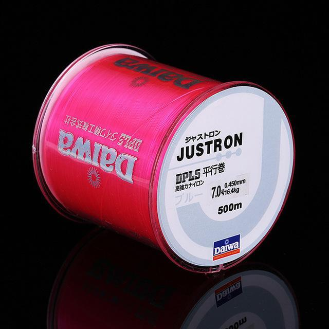 Daiwa 500M Super Strong Daiwa Justron Nylon Fishing Line 2Lb - 40Lb 7 Colors-ACEXPNM Angler & Cyclist's Store-Pink-0.4-Bargain Bait Box