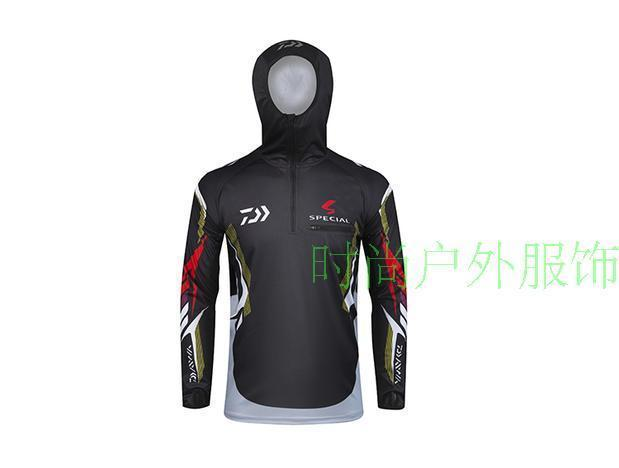 Daiwa Fishing Clothes Long Sleeve Hooded Breathable Leisure Dawa Sunscreen-Hoodies-Bargain Bait Box-Black-M-Bargain Bait Box