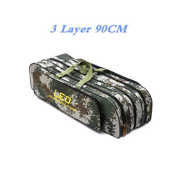 Digital Camo Fishing Bags 600D Canvas 2/3 Layer 80/90Cm Fishing Rod Kit Tackle-Fishing Rod Bags & Cases-Bargain Bait Box-005-Bargain Bait Box