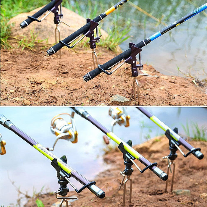 Donql High Quality Fishing Rod Holder Angle Adjustable Metal Bracket Rack-Fishing Tools-DONQL Store-Gray-Bargain Bait Box
