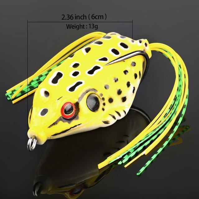Donql Soft Ray Frog Fishing Lures Double Hooks Top Water Artificial Lure 6G 9G-DONQL Store-13g Yellow-Bargain Bait Box