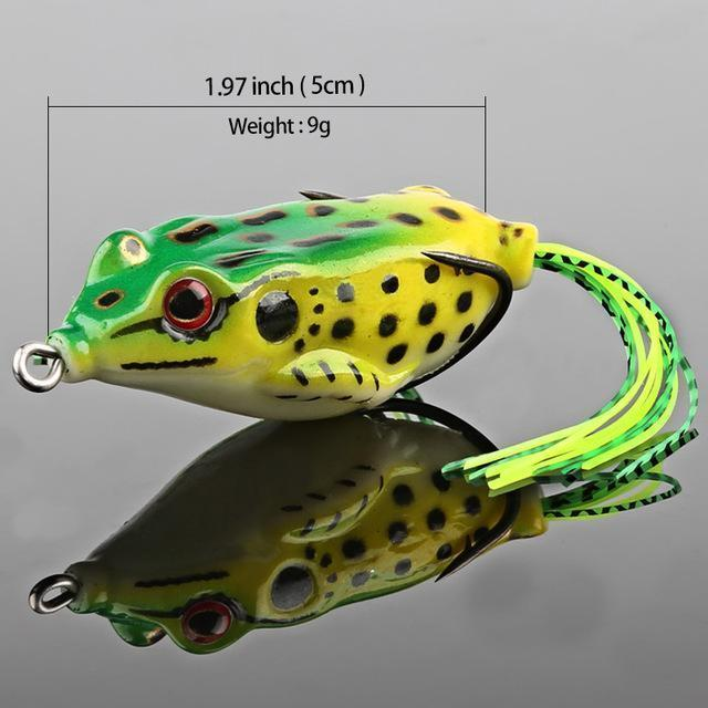 Donql Soft Ray Frog Fishing Lures Double Hooks Top Water Artificial Lure 6G 9G-DONQL Store-9g Green-Bargain Bait Box