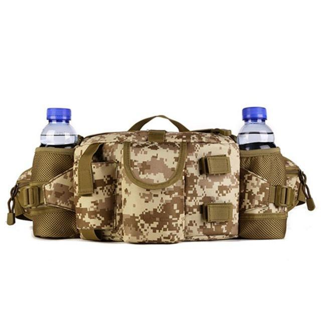 Double Water Bottle Men Nylon Waist Sport Bag Belt Tactical Military Travel-Smiling of Fei Store-Desert Digital-Bargain Bait Box