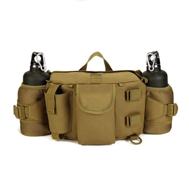 Double Water Bottle Men Nylon Waist Sport Bag Belt Tactical Military Travel-Smiling of Fei Store-Wolf Brown-Bargain Bait Box