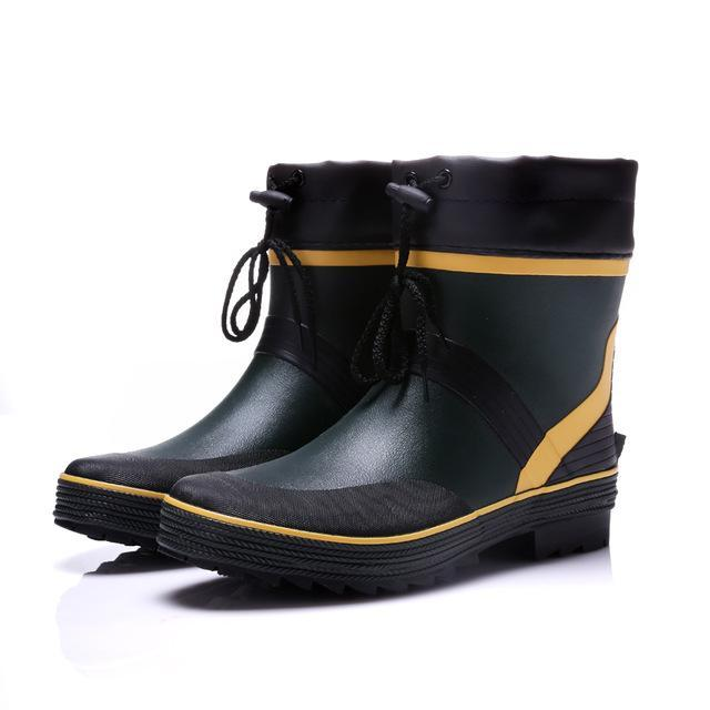 Drawstring Ankle Mens Rubber Rain Boots Men Water Shoes Pvc Waterproof-Rain Boots-Bargain Bait Box-Blue-7-Bargain Bait Box