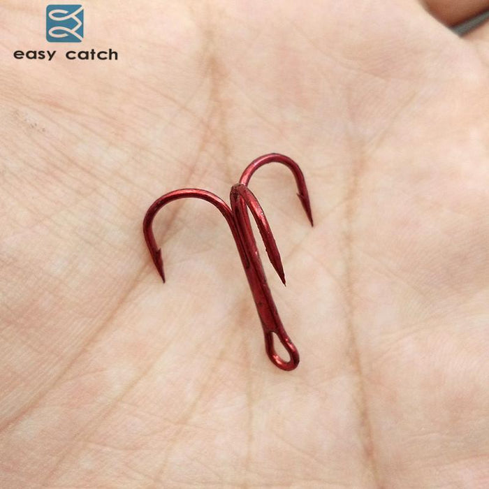 Easy Catch 100Pcs 35647 Treble Fishing Hooks Red Small Round Bent Triple Hard-Easycatch-fishing tackle Store-10-Bargain Bait Box