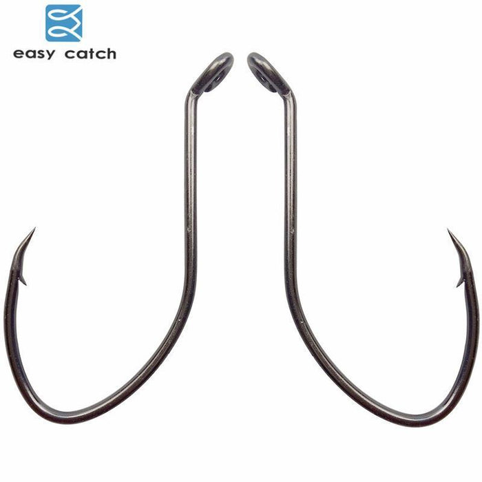 Easy Catch 200Pcs 8832 High Carbon Steel Fishing Hooks Black Offset Wide Gap-Easycatch-fishing tackle Store-1-Bargain Bait Box