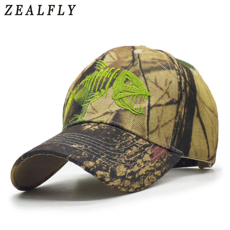 Embroidered Fish Bone Mens Caps Camouflage Hunting Fishing Men Baseball Cap-Men's Baseball Caps-zealfly Boutique Store-Camouflage-56cm to 60cm-Bargain Bait Box